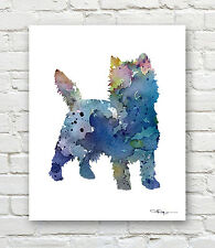 BLUE CAIRN TERRIER Contemporary Watercolor Abstract ART Print by Artist DJR