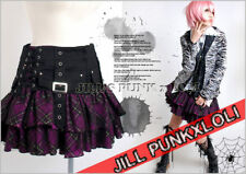 Punk Rock Goth Tiered Plaid Buckle Mesh Corset Skirt P JGFA130