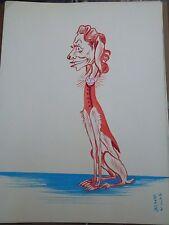 """Georges Bastia caricature Pierry gouache  l'album """"Le Zoo des Vedettes"""" P1027"""
