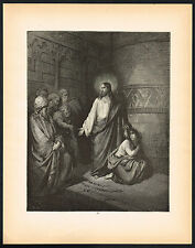1880s Antique Vintage Jesus Adultery Accused Woman Christian Art Engraving Print