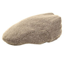 New Mens Herringbone Tweed Flat Cap 2 Colours 5 Sizes