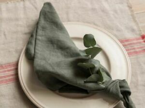 Handmade Linen Napkins - Dark Sage Green  42cm x 42cm - Ideal for Weddings!