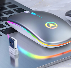 Ultra-thin LED Colorful Lights Rechargeable Mouse Mini Wireless Mute USB Optical