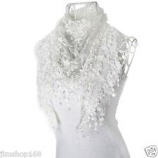 Fashion Womens Lace Tassel Sheer Burntout Floral Print Mantilla Scarf Shawl