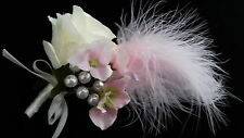 Beautiful Mother of Bride Wedding Corsage, Ivory rose/Hydrangea/Feathers/Pearls