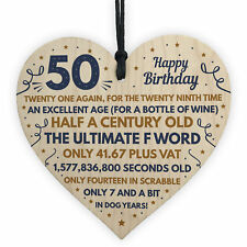 Funny 50th Birthday Presents For Men Women Wood Heart Decoration For Dad Friend