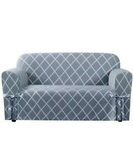 SUREFIT LOVESEAT 1 PIECE SLIPCOVER RELAXED FIT LATTICE PACIFIC BLUE NEW