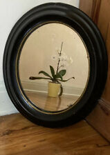Vintage Antique 19th Century ebonised Oval Wall Mirror