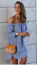 ZARA Striped Off Shoulder Dress  SIZE M UK 10 EU 36 38 US 4 6 Ref:2649/512