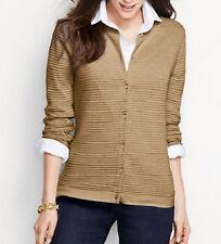 Land's End 448207 Supima Ottoman Cardigan Sweater XS X-SMALL 2-4 Vicuna Heather