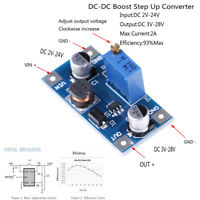 2A DC-DC boost step up volt converter power supply 2V-24V to 3v 5v 6v 9v 12v PTJ