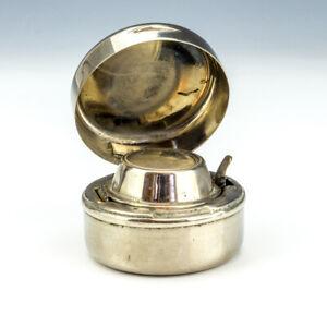Antique Brevete Paris - Chrome Plated Travel Inkwell Miniature Ink Bottle