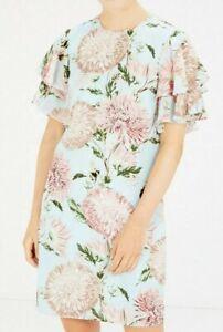 Warehouse Ladies 14 Dress Floral Pom Pom Print Shift Duck Egg Blue Ruffle Sleeve