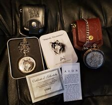 2 New Wolf themed pocket watches with leather cases