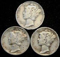1938 P D S Mercury Dime Lot , 90% Silver Three Coin Set