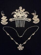 Beautiful set of earrings, necklace, comb, Silver sterling 950, Peru filigree.