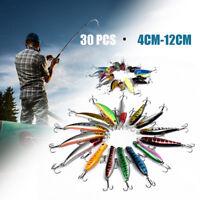 """Lot 30PCS Fishing Lures Baits Treble Hooks Minnow 4cm-12cm (1.5""""-4.7"""")"""