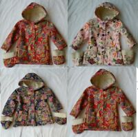 New Baby Toddlers Girls Flower Warm Winter Fleece Coat Jacket Mittens Gloves