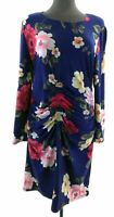 Derek Heart Plus Womes Blue Floral Long Sleeve Knee Length Dress Casual Bodycon