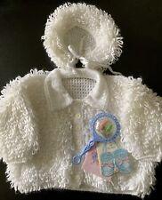 Genuine Vintage Hand Knitted Loopy Baby Cardigan & Bonnet Pram Set White/ivory