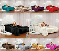 Luxury Faux Silk 6Pcs Satin Complete Bedding Sets Duvet Cover Fitted Sheet