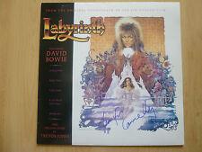 """David Bowie & Jennifer Connelly AUTOGRAPHEs signed LP-Cover """"Labyrinthe"""" Vinyle"""