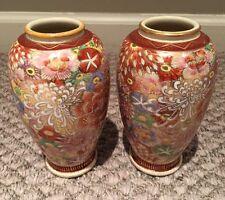 "Pair Of Vintage Japanese Satsuma? Meiji? Vases 6"""