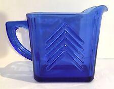 Hazel Atlas Depression Glass Cobalt Blue Creamer, Chevron Pattern, c., 1930's