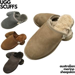 100% Australian Merino Sheepskin Scuffs Moccasins Slippers Winter Slip On UGG -