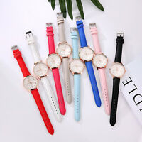 Women Fashion Leather Band Analog Quartz Round Dress Gold Wrist Watch Watches AU