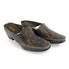 Rialto Womens Mules Block Heels Slip On Brown Black Size 7.5