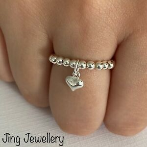 Sterling Silver Beaded Stretch Ring Tiny Puffed Heart Drop Charm 925 All Sizes.