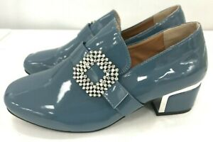Blue Patent Slip On Court Shoes Diamante Buckle Detail 5cm Heel UK 9 Chic 031070