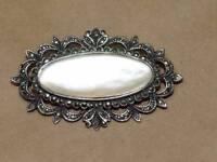 Vintage Art Nouveau Style Sterling Silver Marcasite Oval Shape MOP Pin Brooch