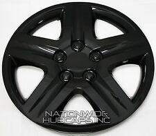 "Set of 4 BLACK 16"" Hub Caps Wheel Covers 5 Spoke Star Full Tire Rim Lug Hubs New"