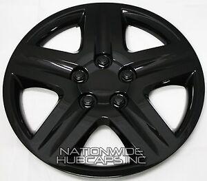 "New Set of 4 BLACK 16"" Hub Caps Wheel Covers 5 Spoke Star Full Tire Rim Lug Hubs"