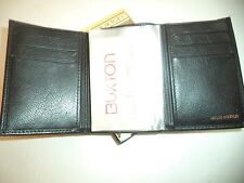 Buxton Vertical Slot Genuine Leather Trifold Wallet,Black