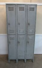 VINTAGE LYON METAL LOCKER SET, DOUBLE TIER, 3 WIDE