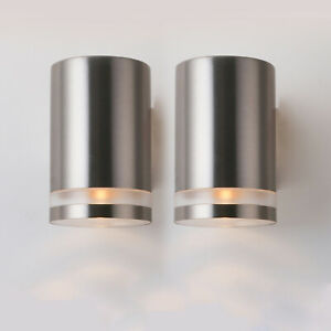 2X Up/down Modern Wall Lamps In/Outdoor GU10 Garden Sconces Stainless Steel IP44