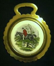 Vintage HUNTSMAN WITH TWO HOUNDS Porcelain Horse Brass WOW YOUR WALLS!
