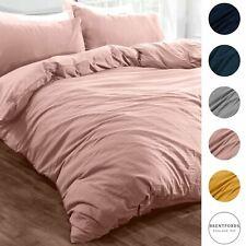 Brentfords Washed Linen Duvet Cover with Pillowcase Bedding Set Grey Ochre Blush