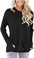 Women Round Neck Casual Loose Long Sleeve Sweatshirt T-Shirts Tops Blouse Black