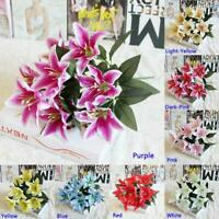 Artificial Lily Floral Fake Silk Flower Wedding Party Bridal Bouquet Home Decor