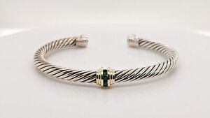 David Yurman Silver & 14K Gold 5mm Cable Cuff Bracelet Single Station Emeralds