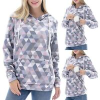 Women Maternity Long Sleeve Print Nursing Tops Blouse Pullover Hooded Sweatshirt