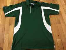 Champion Men's Double Dry Green and White Polo Size Small