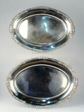 Pair Dutch Art Nouveau Sterling Silver Serving Platters - Cattails Ph Saakes Sl