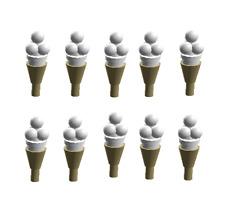 LEGO Ice Cream Tan Cones White Scoops Lot of 10 Minifigure Food