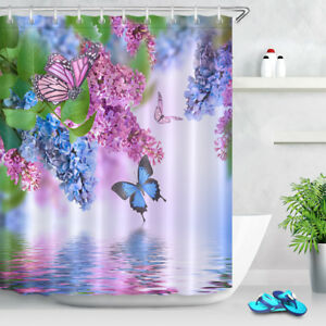 Branch of Lilac & Butterfly Bathroom Set Shower Curtain Hooks Waterproof Fabric