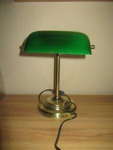 Banker Lampe   Tischlampe Messing Grüne Schirm